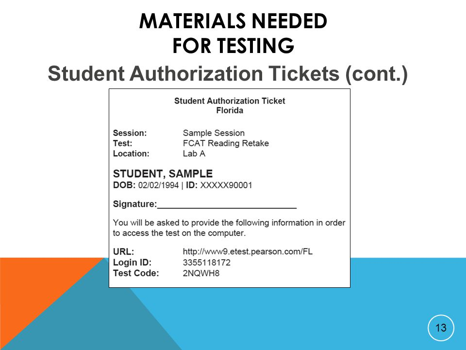MATERIALS NEEDED FOR TESTING 13 Student Authorization Tickets (cont.)