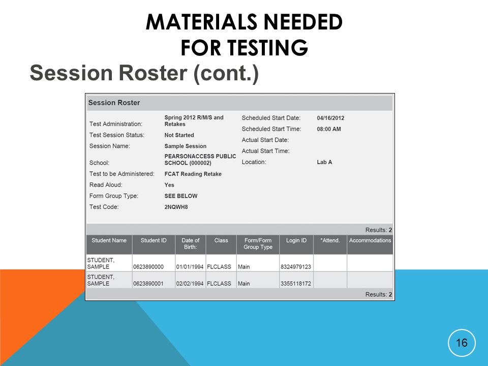 MATERIALS NEEDED FOR TESTING 16 Session Roster (cont.)