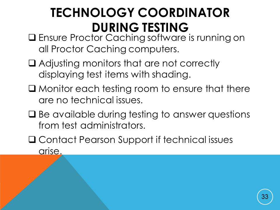 TECHNOLOGY COORDINATOR DURING TESTING  Ensure Proctor Caching software is running on all Proctor Caching computers.