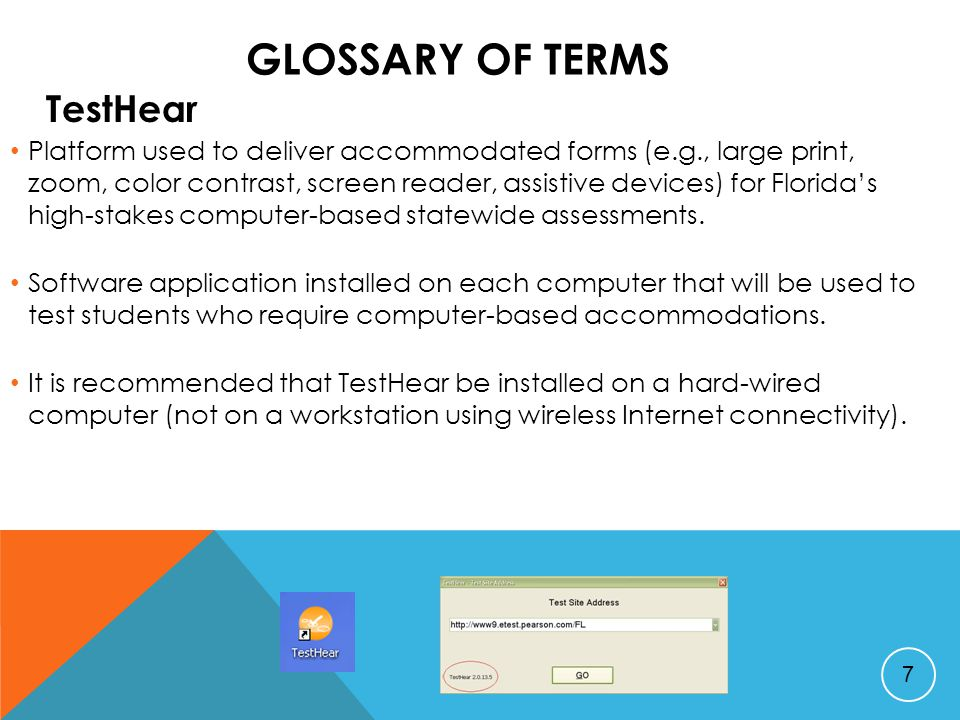 GLOSSARY OF TERMS ePAT Electronic Practice Assessment Tool Students are required to take an ePAT for each computer-based test.