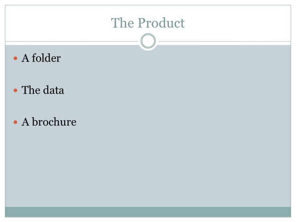 The Product A folder The data A brochure