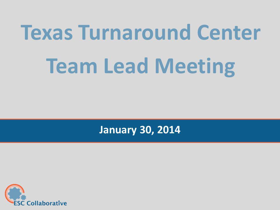 Texas Turnaround Center Team Lead Meeting January 30, 2014