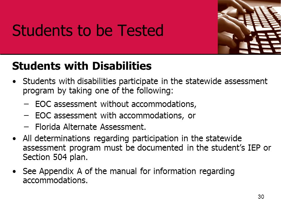 Students to be Tested Students with Disabilities Students with disabilities participate in the statewide assessment program by taking one of the follo