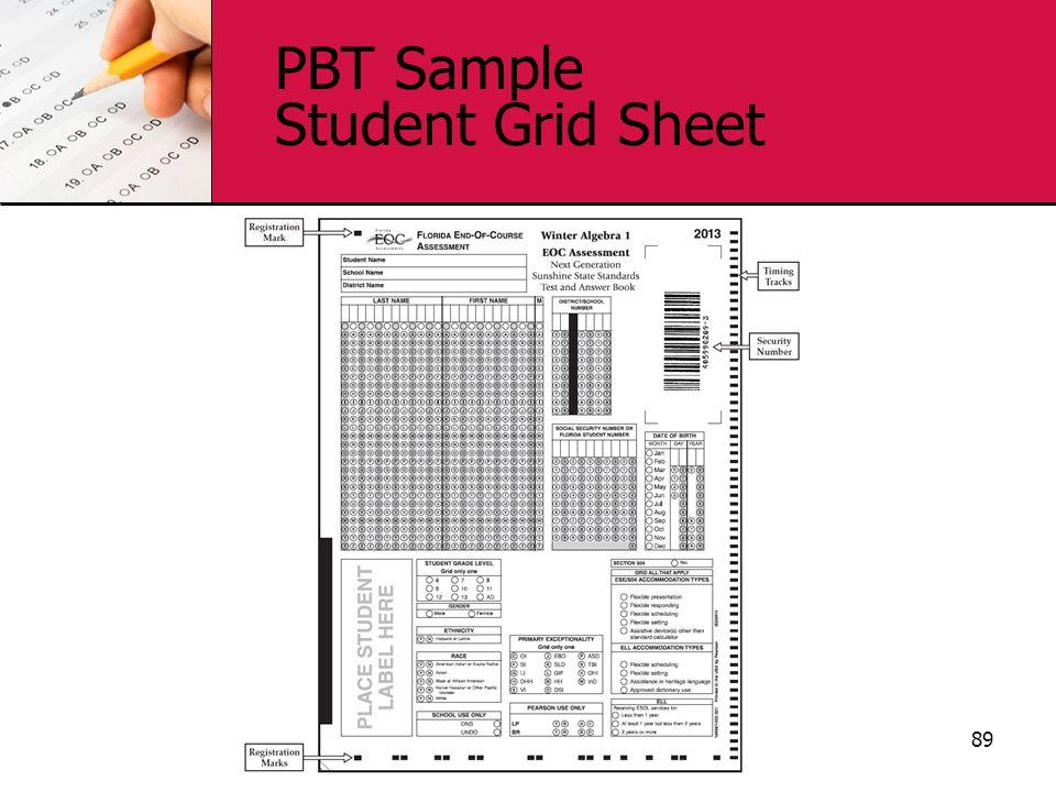 PBT Sample Student Grid Sheet 89