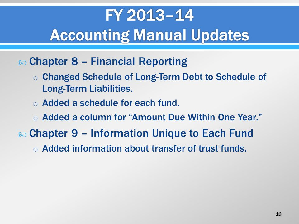  Chapter 8 – Financial Reporting o Changed Schedule of Long-Term Debt to Schedule of Long-Term Liabilities. o Added a schedule for each fund. o Added