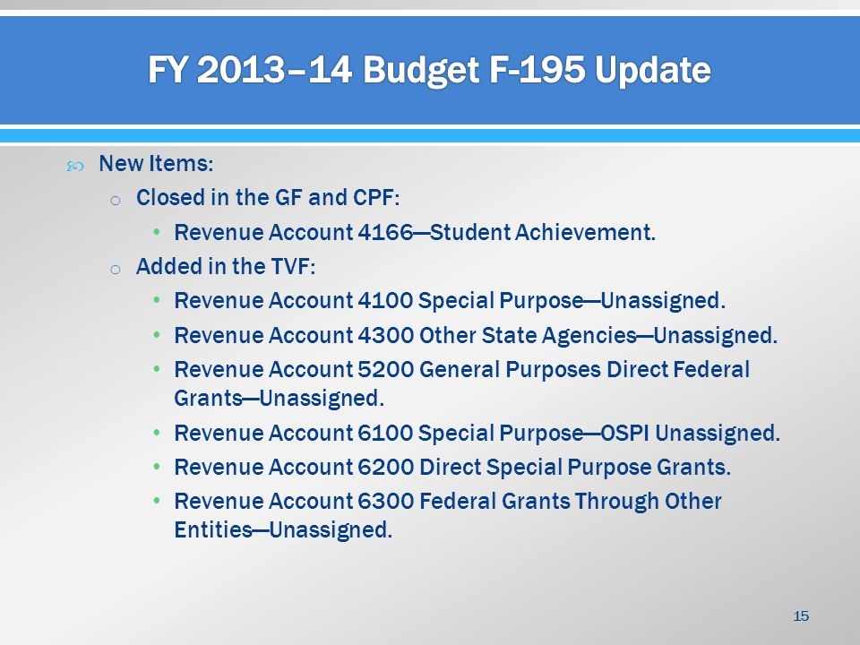  New Items: o Closed in the GF and CPF: Revenue Account 4166—Student Achievement. o Added in the TVF: Revenue Account 4100 Special Purpose—Unassigned