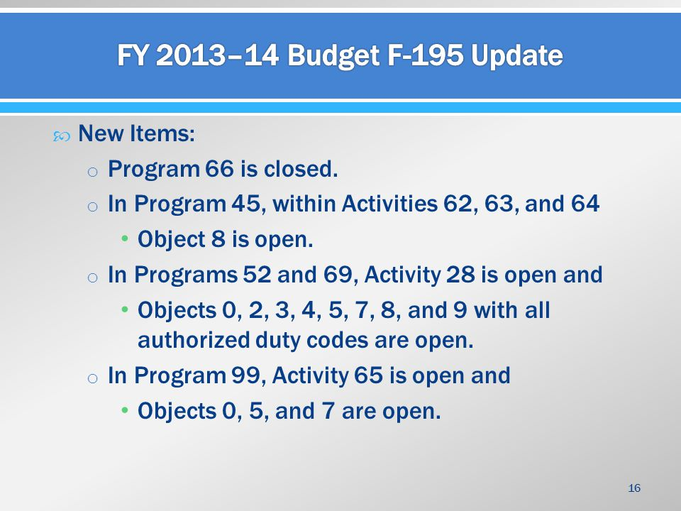  New Items: o Program 66 is closed. o In Program 45, within Activities 62, 63, and 64 Object 8 is open. o In Programs 52 and 69, Activity 28 is open