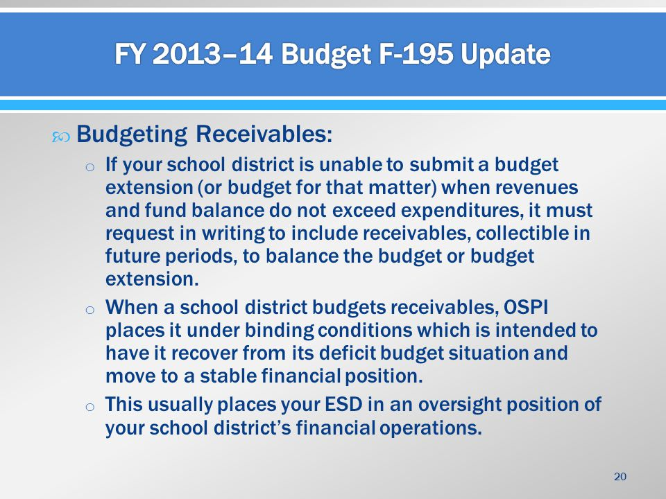  Budgeting Receivables: o If your school district is unable to submit a budget extension (or budget for that matter) when revenues and fund balance d