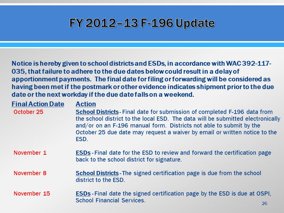 Notice is hereby given to school districts and ESDs, in accordance with WAC 392-117- 035, that failure to adhere to the due dates below could result in a delay of apportionment payments.
