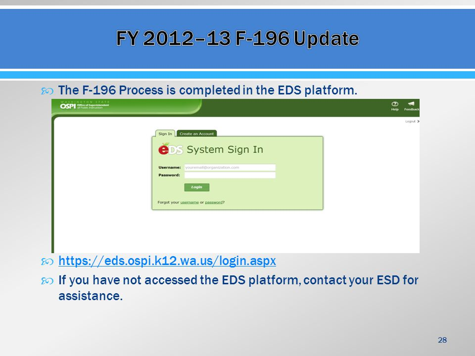  The F-196 Process is completed in the EDS platform.  https://eds.ospi.k12.wa.us/login.aspx https://eds.ospi.k12.wa.us/login.aspx  If you have not