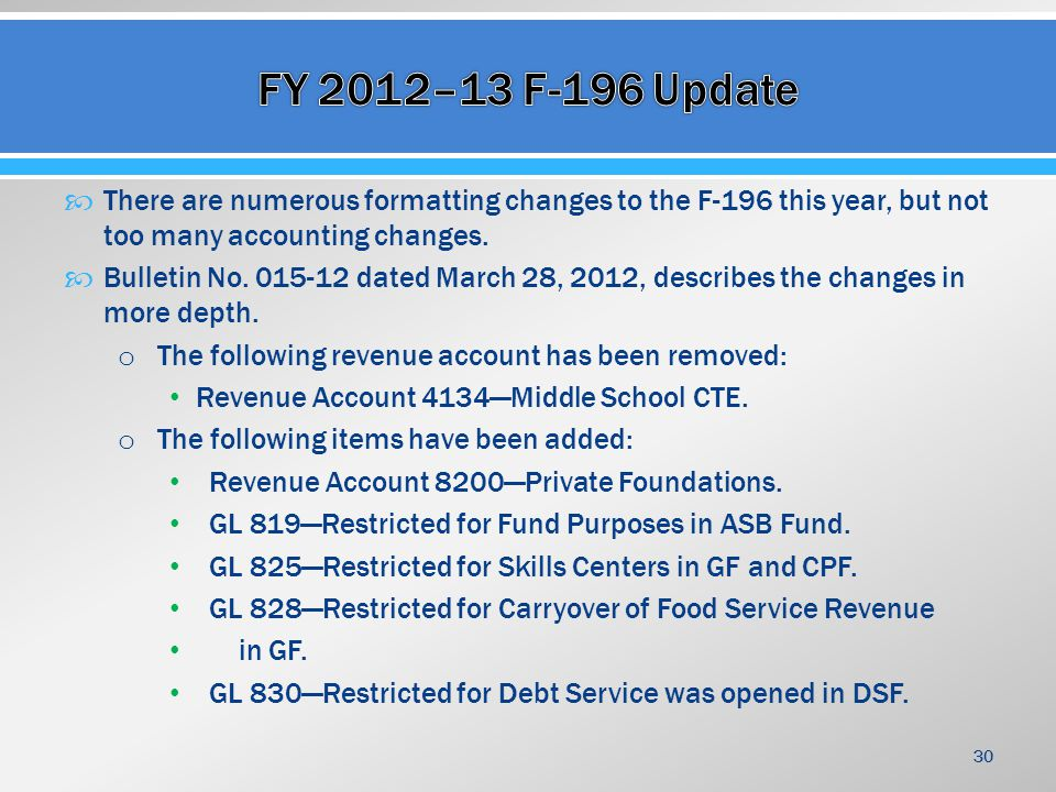  There are numerous formatting changes to the F-196 this year, but not too many accounting changes.
