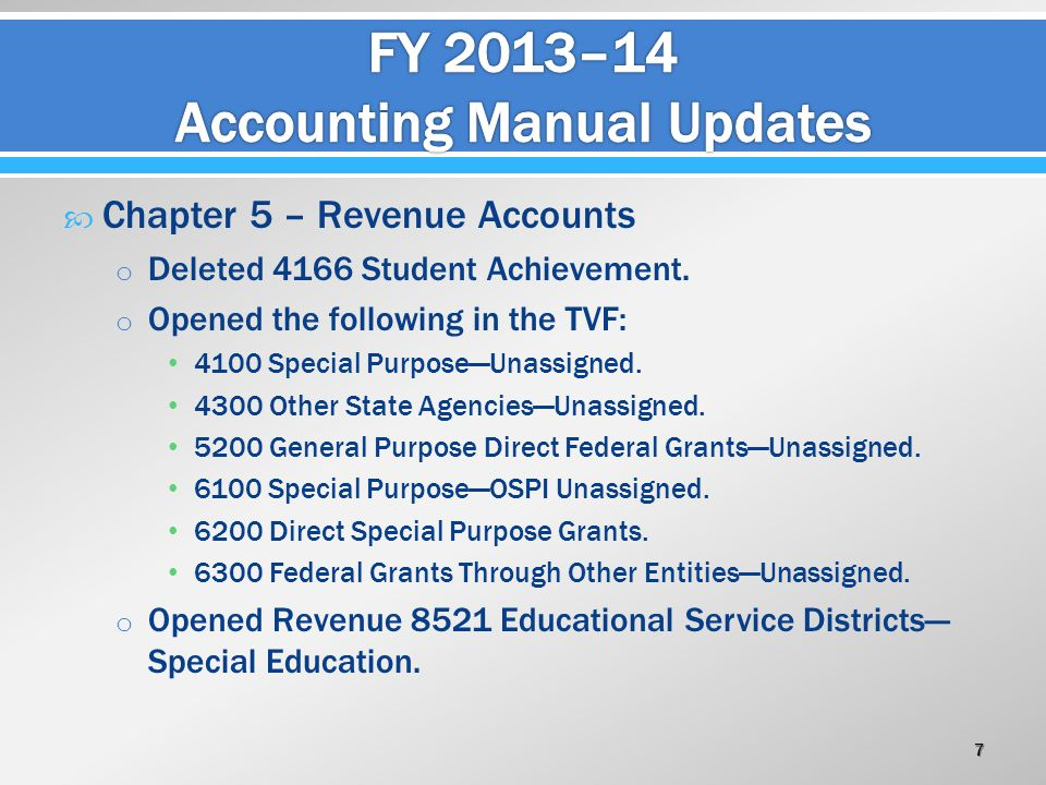  Chapter 5 – Revenue Accounts o Deleted 4166 Student Achievement. o Opened the following in the TVF: 4100 Special Purpose—Unassigned. 4300 Other Stat