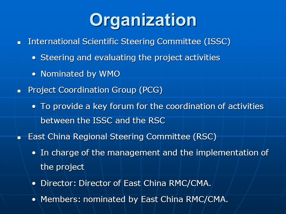 The proposal was proposed by Shanghai Meteorology Bureau/CMA (East China RMC) during the IWTCLP-II in Shanghai, China, 19 – 23 Oct.