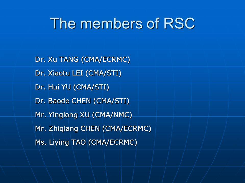 The members of RSC Dr. Xu TANG (CMA/ECRMC) Dr. Xiaotu LEI (CMA/STI) Dr. Hui YU (CMA/STI) Dr. Baode CHEN (CMA/STI) Mr. Yinglong XU (CMA/NMC) Mr. Zhiqia
