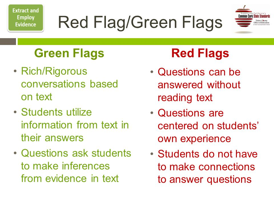 Red Flag/Green Flags Rich/Rigorous conversations based on text Students utilize information from text in their answers Questions ask students to make inferences from evidence in text Questions can be answered without reading text Questions are centered on students' own experience Students do not have to make connections to answer questions Red FlagsGreen Flags