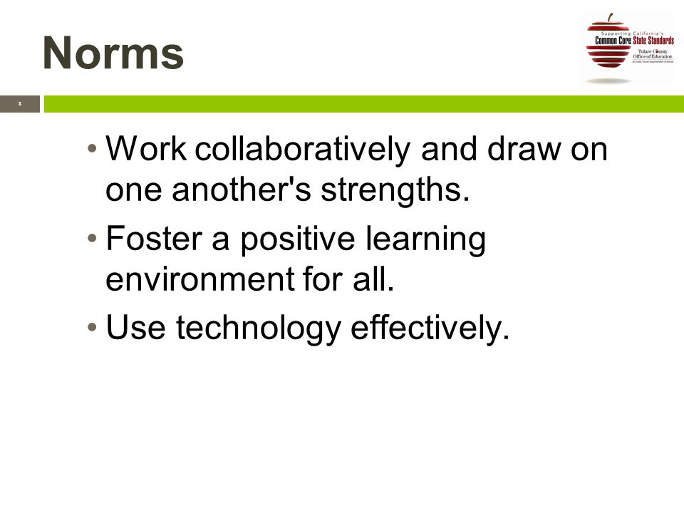 Norms 3 Work collaboratively and draw on one another s strengths.
