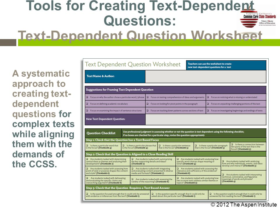 A systematic approach to creating text- dependent questions for complex texts while aligning them with the demands of the CCSS.