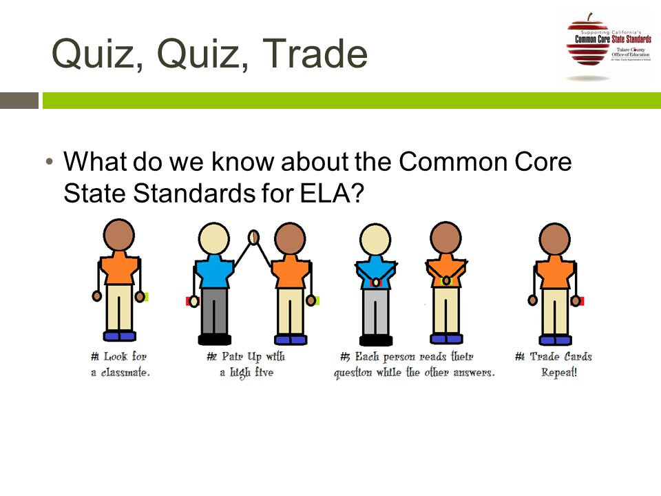 Quiz, Quiz, Trade What do we know about the Common Core State Standards for ELA