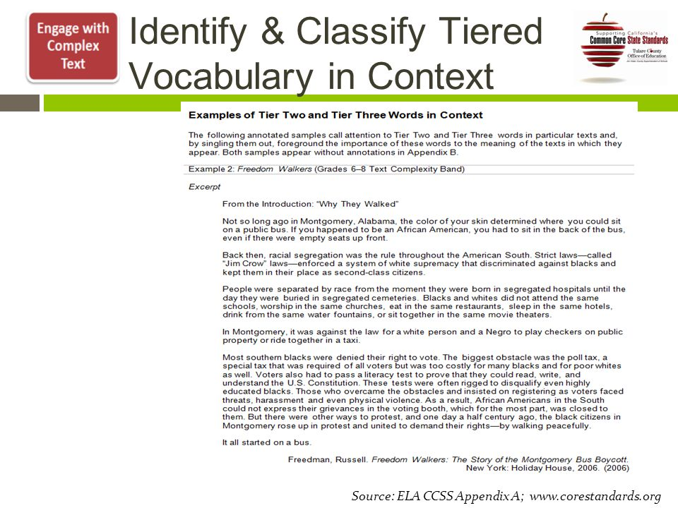 Identify & Classify Tiered Vocabulary in Context Source: ELA CCSS Appendix A; www.corestandards.org