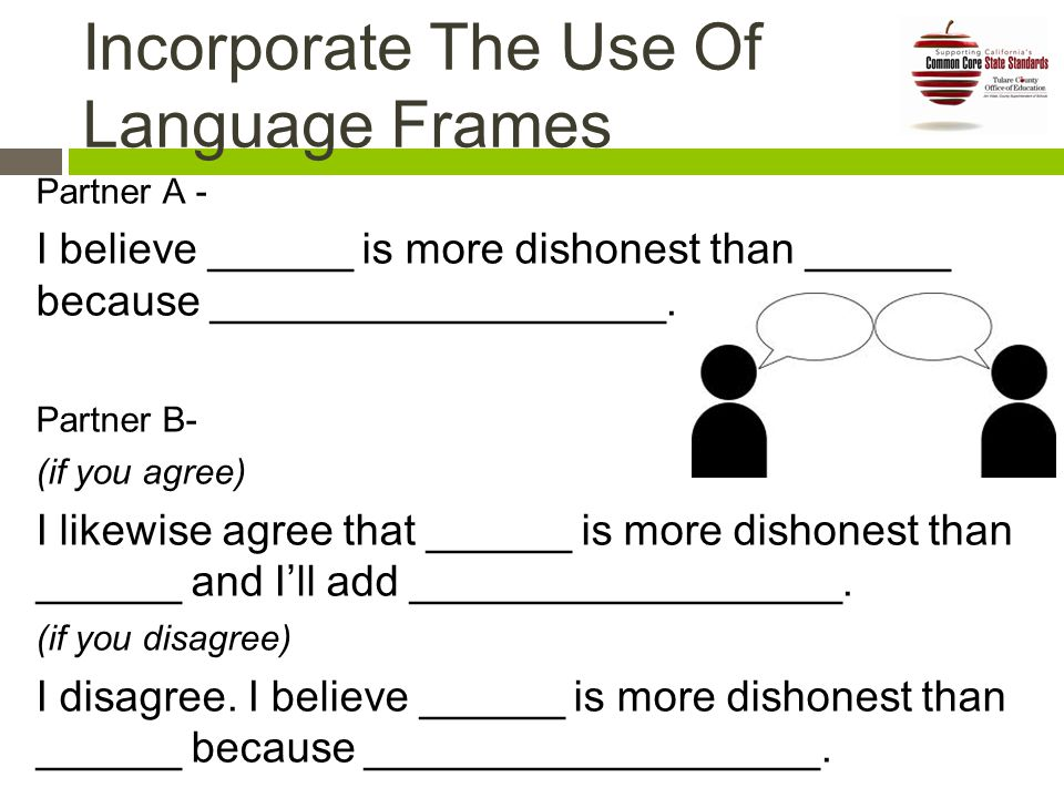 Incorporate The Use Of Language Frames Partner A - I believe ______ is more dishonest than ______ because ___________________.