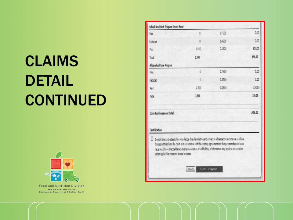 CLAIMS DETAIL CONTINUED