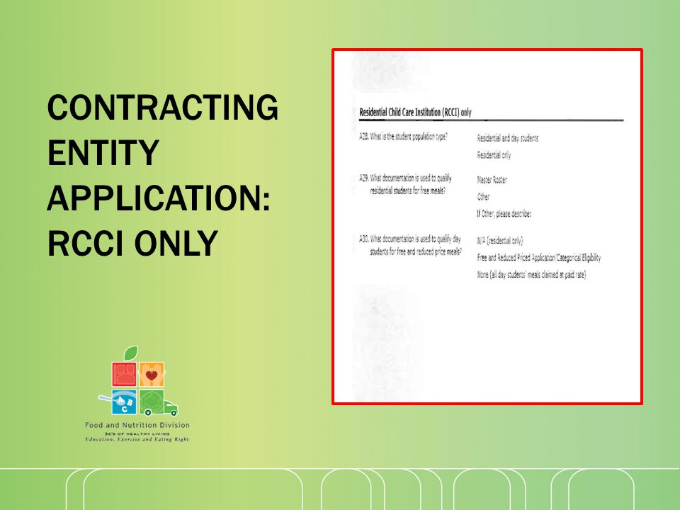 CONTRACTING ENTITY APPLICATION: RCCI ONLY