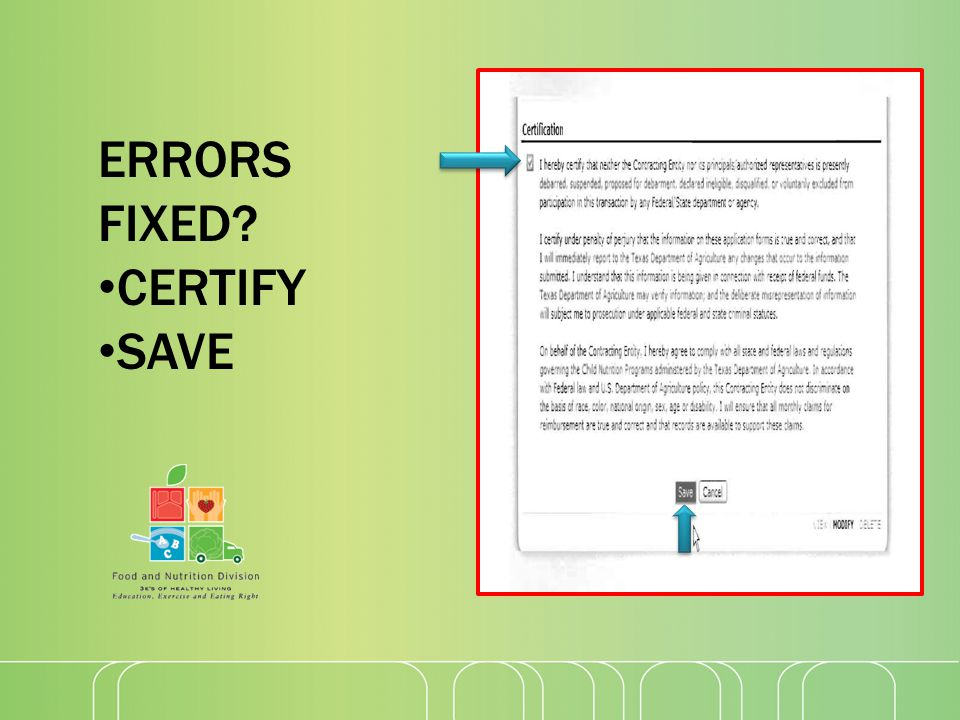 ERRORS FIXED CERTIFY SAVE
