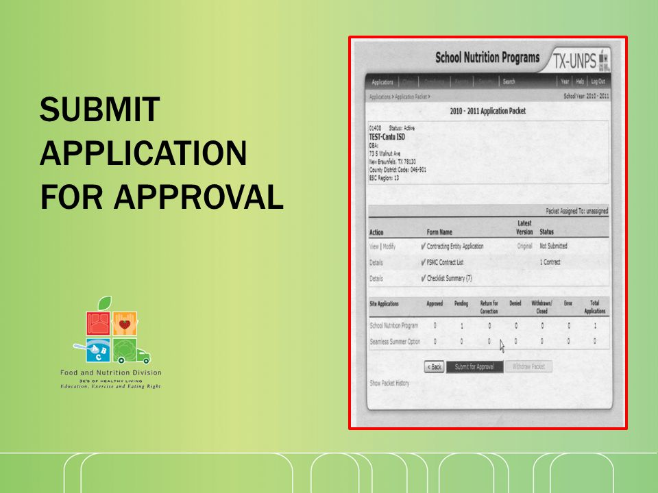 SUBMIT APPLICATION FOR APPROVAL