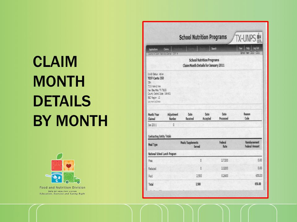 CLAIM MONTH DETAILS BY MONTH