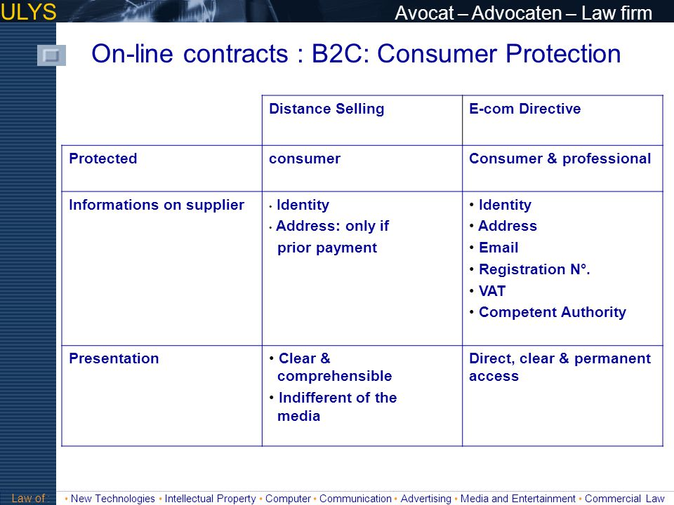 ULYS Avocat – Advocaten – Law firm On-line contracts: B2C: Consumer Protection Information on Product/Service Characteristics Delivery costs Right of withdrawla Terms of the offer Minimal term payment Price informationPrice, Tax included Price + delivery costs + taxes MomentBefore execution of contract OfferSteps to follow Access & Filing Law of : New Technologies Intellectual Property Computer Communication Advertising Media and Entertainment Commercial Law