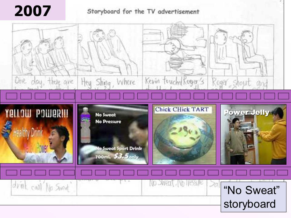 """S3 students ' work """"No Sweat"""" storyboard 2007 Power Jelly"""