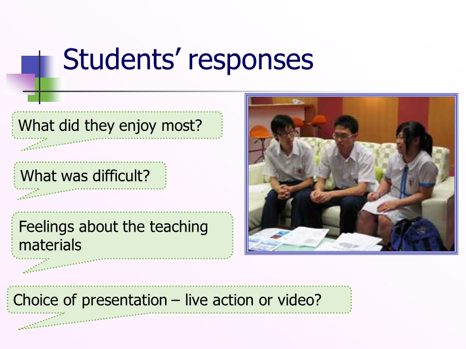Students' responses What did they enjoy most? What was difficult? Feelings about the teaching materials Choice of presentation – live action or video?