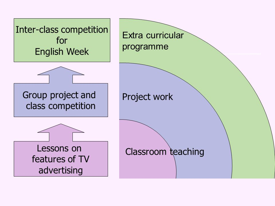 Extra curricular programme Project work Classroom teaching Lessons on features of TV advertising Group project and class competition Inter-class compe