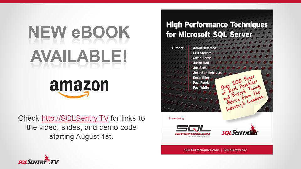 Check http://SQLSentry.TV for links to the video, slides, and demo code starting August 1st.http://SQLSentry.TV