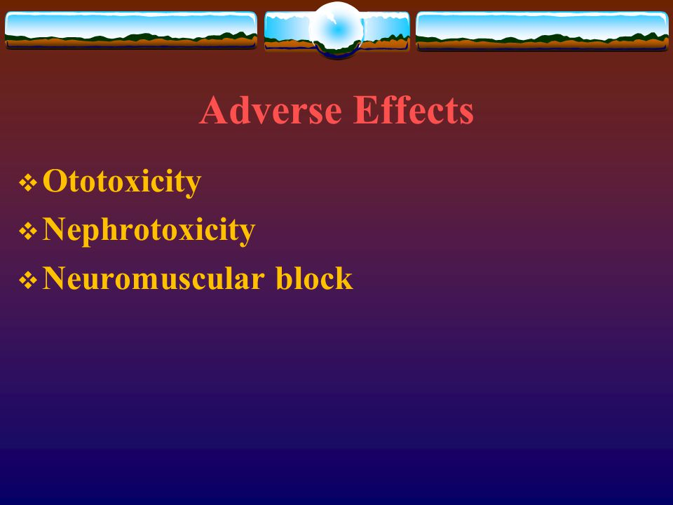 Adverse Effects  Ototoxicity  Nephrotoxicity  Neuromuscular block