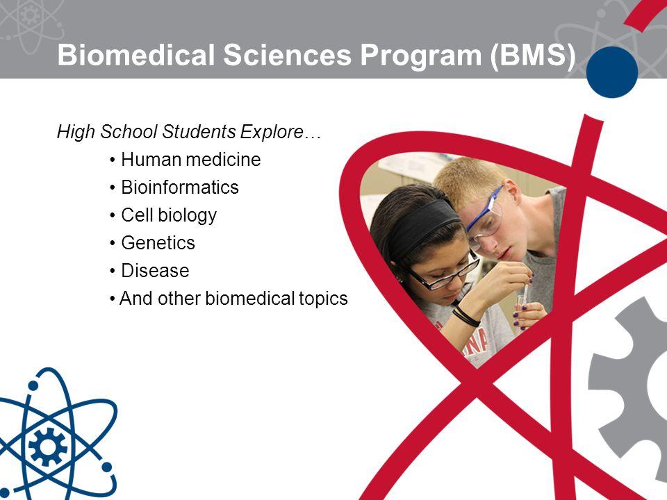 Biomedical Sciences Program (BMS) High School Students Explore… Human medicine Bioinformatics Cell biology Genetics Disease And other biomedical topic