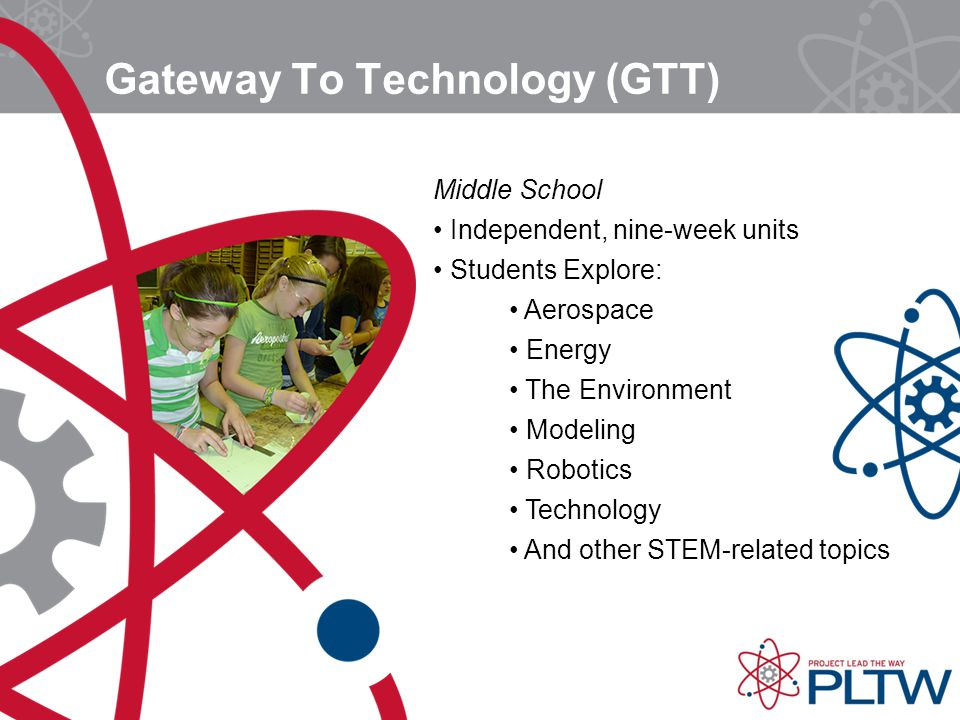 Gateway To Technology (GTT) Middle School Independent, nine-week units Students Explore: Aerospace Energy The Environment Modeling Robotics Technology And other STEM-related topics