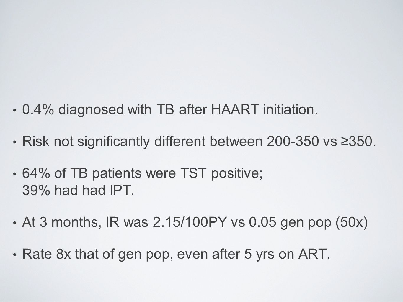 0.4% diagnosed with TB after HAART initiation. Risk not significantly different between 200-350 vs ≥350. 64% of TB patients were TST positive; 39% had