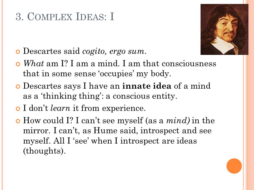 Descartes said cogito, ergo sum. What am I. I am a mind.