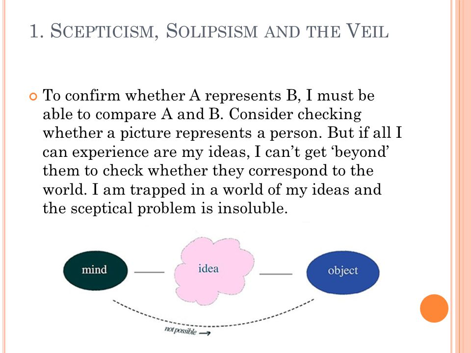 1.S CEPTICISM, S OLIPSISM AND THE V EIL It gets worse.