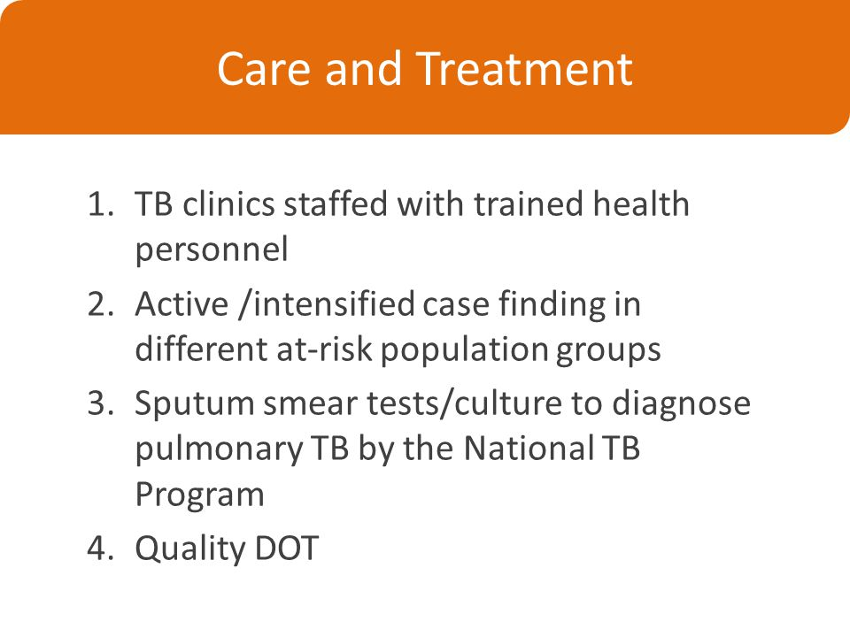 Care and Treatment 1.TB clinics staffed with trained health personnel 2.Active /intensified case finding in different at-risk population groups 3.Sputum smear tests/culture to diagnose pulmonary TB by the National TB Program 4.Quality DOT