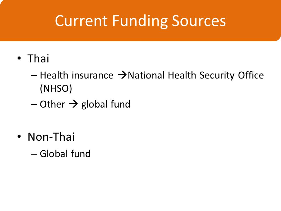 Thai – Health insurance  National Health Security Office (NHSO) – Other  global fund Non-Thai – Global fund Current Funding Sources