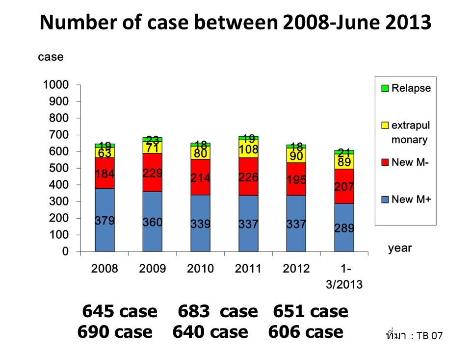 Number of case between 2008-June 2013 645 case 683 case 651 case 690 case 640 case 606 case ที่มา : TB 07