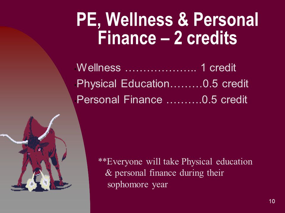 PE, Wellness & Personal Finance – 2 credits Wellness ……………….. 1 credit Physical Education………0.5 credit Personal Finance ……….0.5 credit 10 **Everyone w