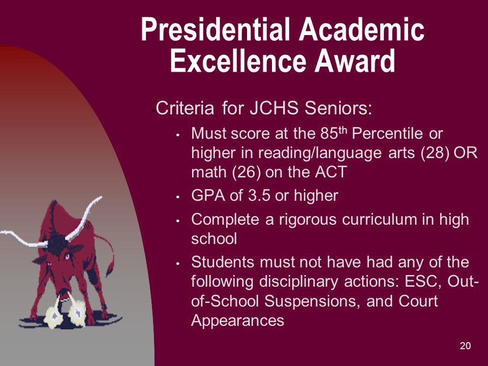 Presidential Academic Excellence Award Criteria for JCHS Seniors: Must score at the 85 th Percentile or higher in reading/language arts (28) OR math (