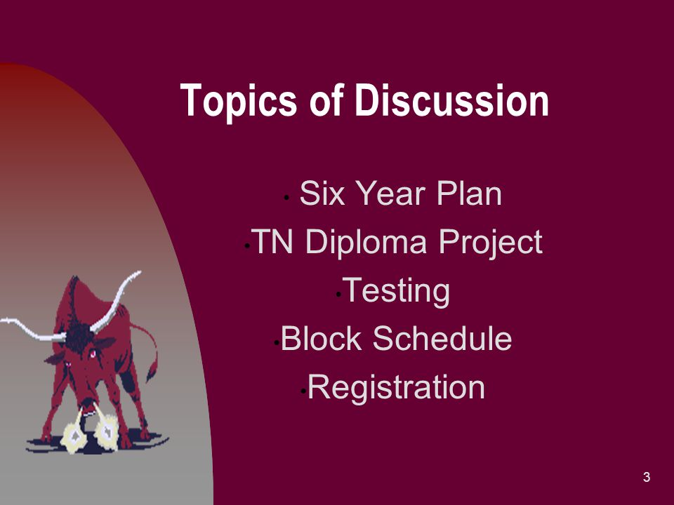 Topics of Discussion Six Year Plan TN Diploma Project Testing Block Schedule Registration 3