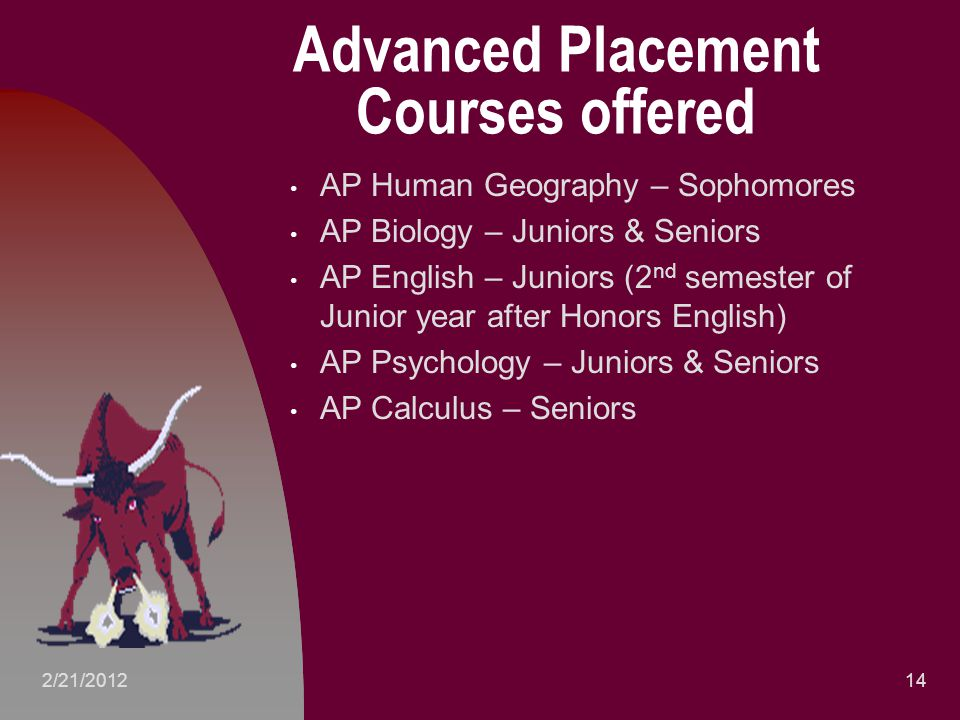 Advanced Placement Courses offered AP Human Geography – Sophomores AP Biology – Juniors & Seniors AP English – Juniors (2 nd semester of Junior year after Honors English) AP Psychology – Juniors & Seniors AP Calculus – Seniors 142/21/2012