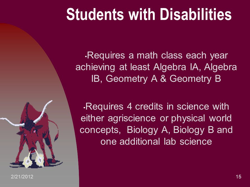 Students with Disabilities Requires a math class each year achieving at least Algebra IA, Algebra IB, Geometry A & Geometry B Requires 4 credits in science with either agriscience or physical world concepts, Biology A, Biology B and one additional lab science 152/21/2012