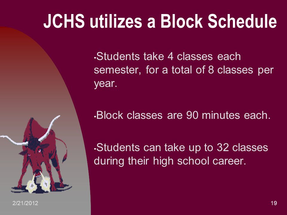 JCHS utilizes a Block Schedule Students take 4 classes each semester, for a total of 8 classes per year.