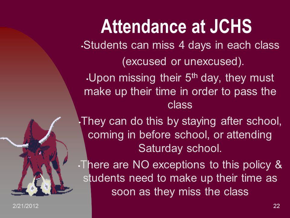 Attendance at JCHS Students can miss 4 days in each class (excused or unexcused).